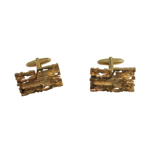 Cufflinks – Rectangular Brutalist Design, Gold - shopcurious