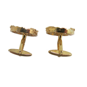 Cufflinks – Round Brutalist Design, Gold - shopcurious