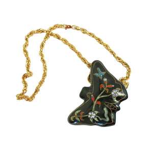 Diane Von Furstenberg Vintage 1970s Ceramic Butterfly Pendant and Chain - shopcurious