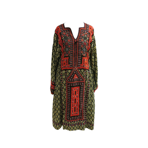 Hand Embroidered Diamond Print Ethnic Kaftan - shopcurious