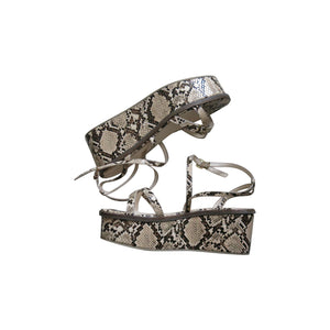 Pre-worn Faux Snakeskin Flatform Sandals - shopcurious