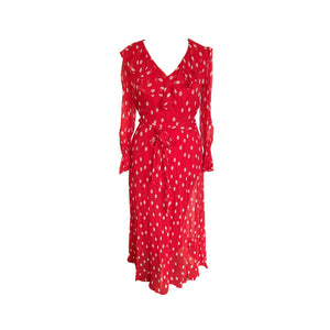 Ghost Red and White Polka Dot Georgette Everly Maxi Dress - shopcurious
