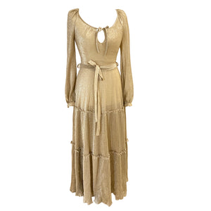 Vera Mont Gold Lurex Pleated Skirt Dress - ShopCurious