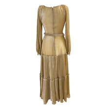 Load image into Gallery viewer, Vera Mont Gold Lurex Pleated Skirt Dress - ShopCurious