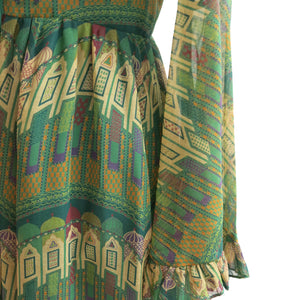 Clothes by Samuel Sherman Vintage 1970s Angel Sleeve Maxi Dress - shopcurious