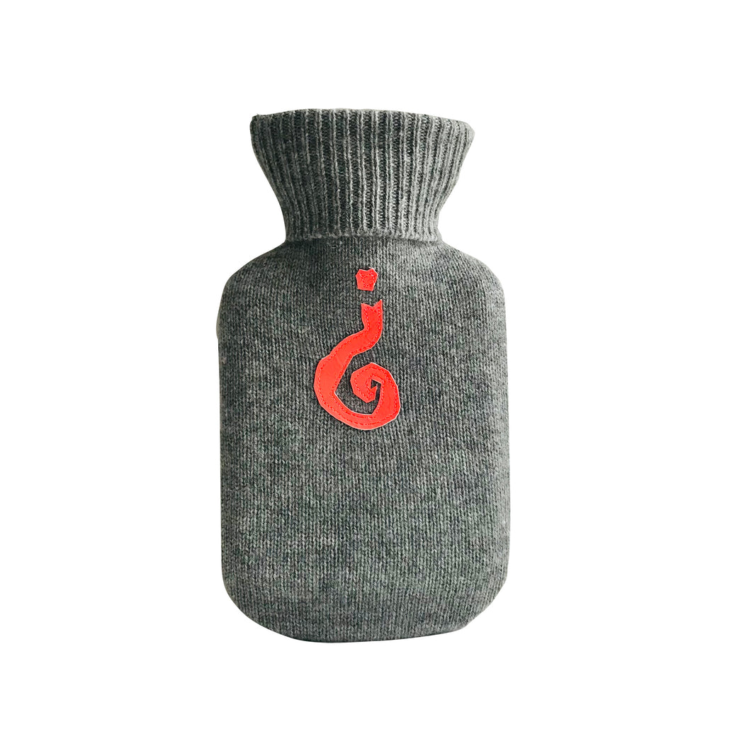 Curious Hot Water Bottle – Upcycled Cashmere, Grey with Neon Red - shopcurious