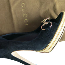 Load image into Gallery viewer, Gucci Horsebit Detail Black Suede Peep-Toe Shoe with Bamboo Platform - shopcurious