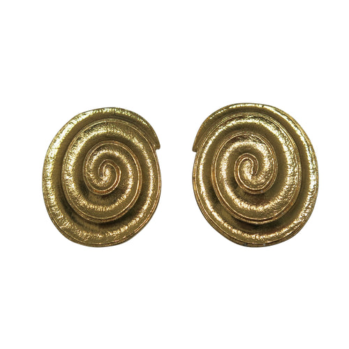 Large Oval Swirl Earrings – Vintage YSL - shopcurious