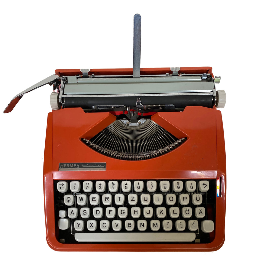 Baby Hermes Orange Vintage Typewriter - shopcurious