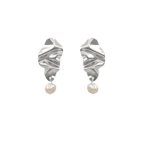 White Gold 'Icicle' FOLD Earrings with Baroque Pearls - shopcurious