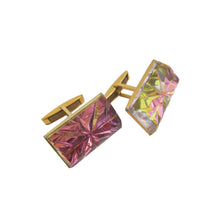 Load image into Gallery viewer, Cufflinks - Iridescent Rose Pink and Chartreuse Cut Crystal - shopcurious