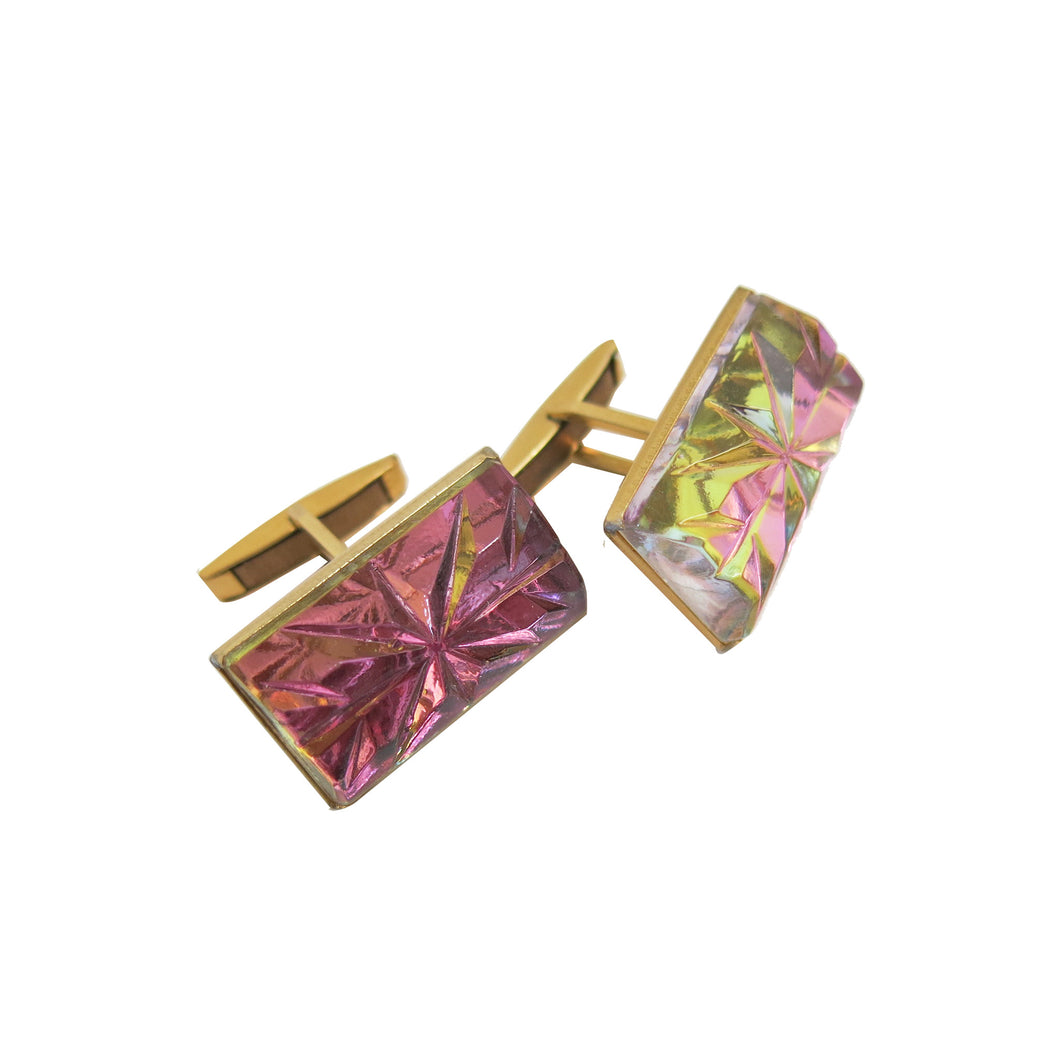Cufflinks - Iridescent Rose Pink and Chartreuse Cut Crystal - shopcurious