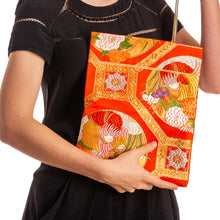 Load image into Gallery viewer, Iris and Chrysanthemums II: Upcycled Obi Envelope Clutch/Shoulder Bag - shopcurious