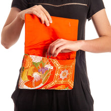 Load image into Gallery viewer, Iris and Chrysanthemums: Upcycled Obi Envelope Clutch/Shoulder Bag - shopcurious