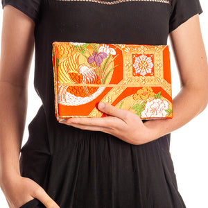 Iris and Chrysanthemums II: Upcycled Obi Envelope Clutch/Shoulder Bag - shopcurious