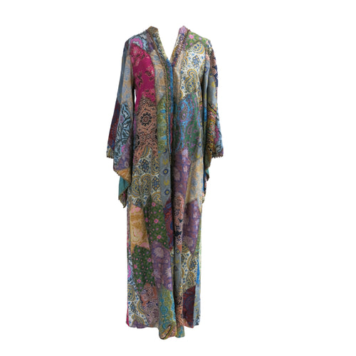 One Vintage Patchwork Silk Kaftan - shopcurious