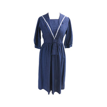 Load image into Gallery viewer, Laura Ashley 1970s Vintage Polka Dot Cotton Sailor Dress with Neck Tie and Bib