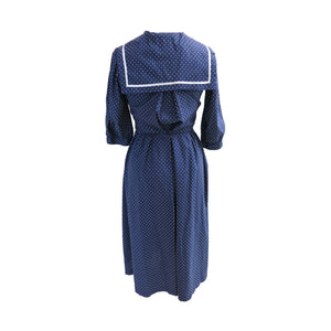 Laura Ashley 1970s Vintage Polka Dot Cotton Sailor Dress with Neck Tie and Bib