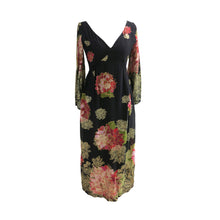 Load image into Gallery viewer, Elinor Simmons for Malcolm Starr Vintage late 1960s-early 1970s Exotic Floral Print with Gold Thread Maxi Dress - ShopCurious