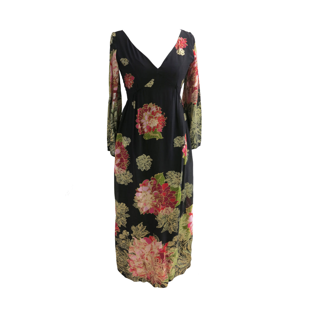 Elinor Simmons for Malcolm Starr Vintage late 1960s-early 1970s Exotic Floral Print with Gold Thread Maxi Dress - ShopCurious