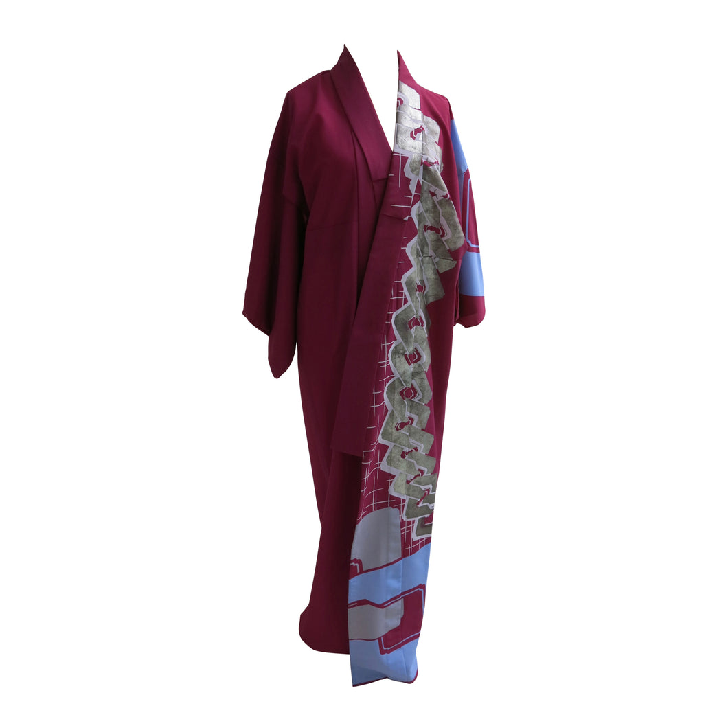 Abstract Art Violet Vintage Kimono - shopxcurious