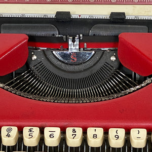 Olympia Splendid 99 Red Vintage Typewriter - shopcurious