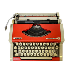 Olympia Traveller de Luxe Red and Grey Vintage Typewriter - shopcurious