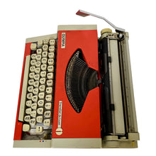Load image into Gallery viewer, Olympia Traveller de Luxe Red and Grey Vintage Typewriter - shopcurious