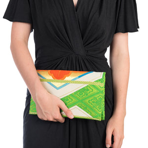 Paulownia: Upcycled Obi Envelope Clutch/Shoulder Bag - shopcurious
