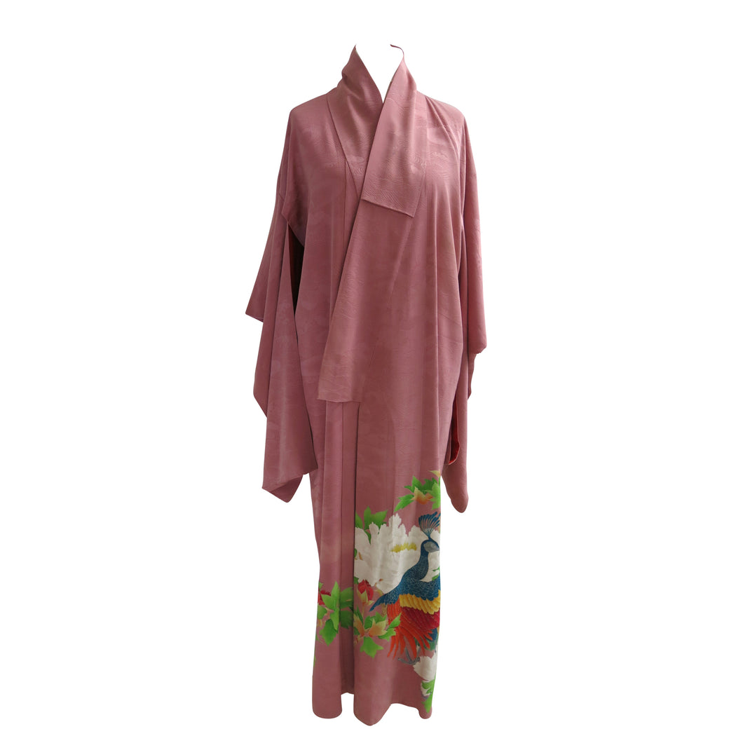 Peacock and Peonies Dusky Pink Vintage Kimono - shopxcurious