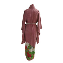 Load image into Gallery viewer, Peacock and Peonies Dusky Pink Vintage Kimono - shopxcurious