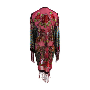 Fringed Devoré Peacock Flower Kimono Jacket - ShopCurious