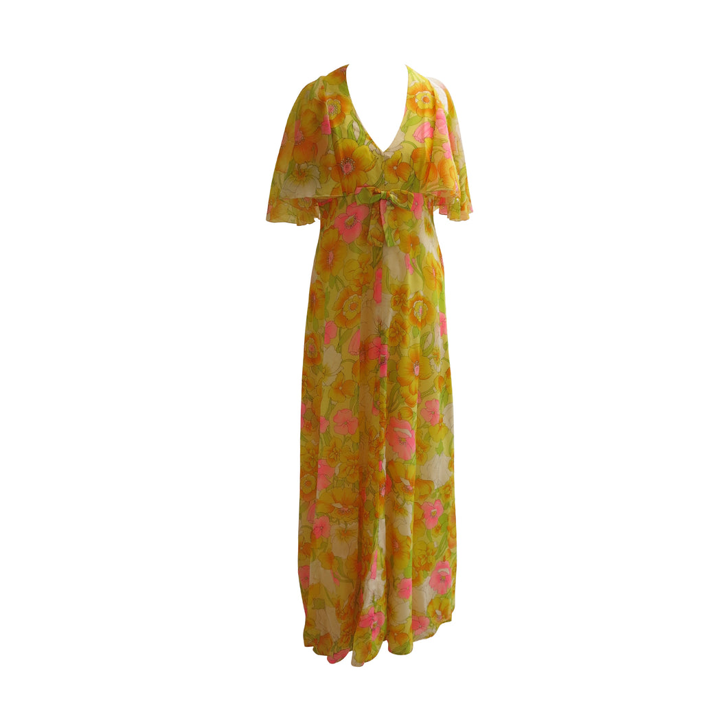Floral and Floaty Vintage John Charles of London Long Dress - shopcurious