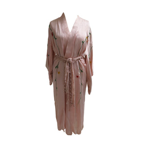 Flower Embroidered Powder Pink Silk Vintage Kimono - shopcurious