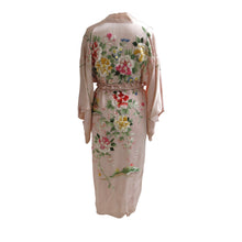 Load image into Gallery viewer, Flower Embroidered Powder Pink Silk Vintage Kimono - shopcurious