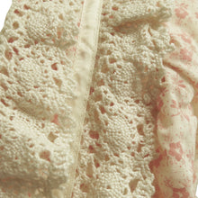 Load image into Gallery viewer, Ditsy Print Cream and Pink Prairie Dress with Handmade Lace Trim - ShopCurious