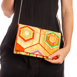 Primary Harmony: Upcycled Obi Envelope Clutch/Shoulder Bag - shopcurious