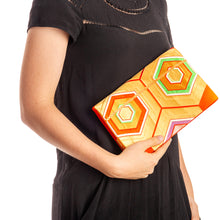 Load image into Gallery viewer, Primary Harmony: Upcycled Obi Envelope Clutch/Shoulder Bag - shopcurious