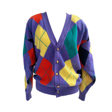 Load image into Gallery viewer, Purple Argyle Knit Cardigan - shopcurious