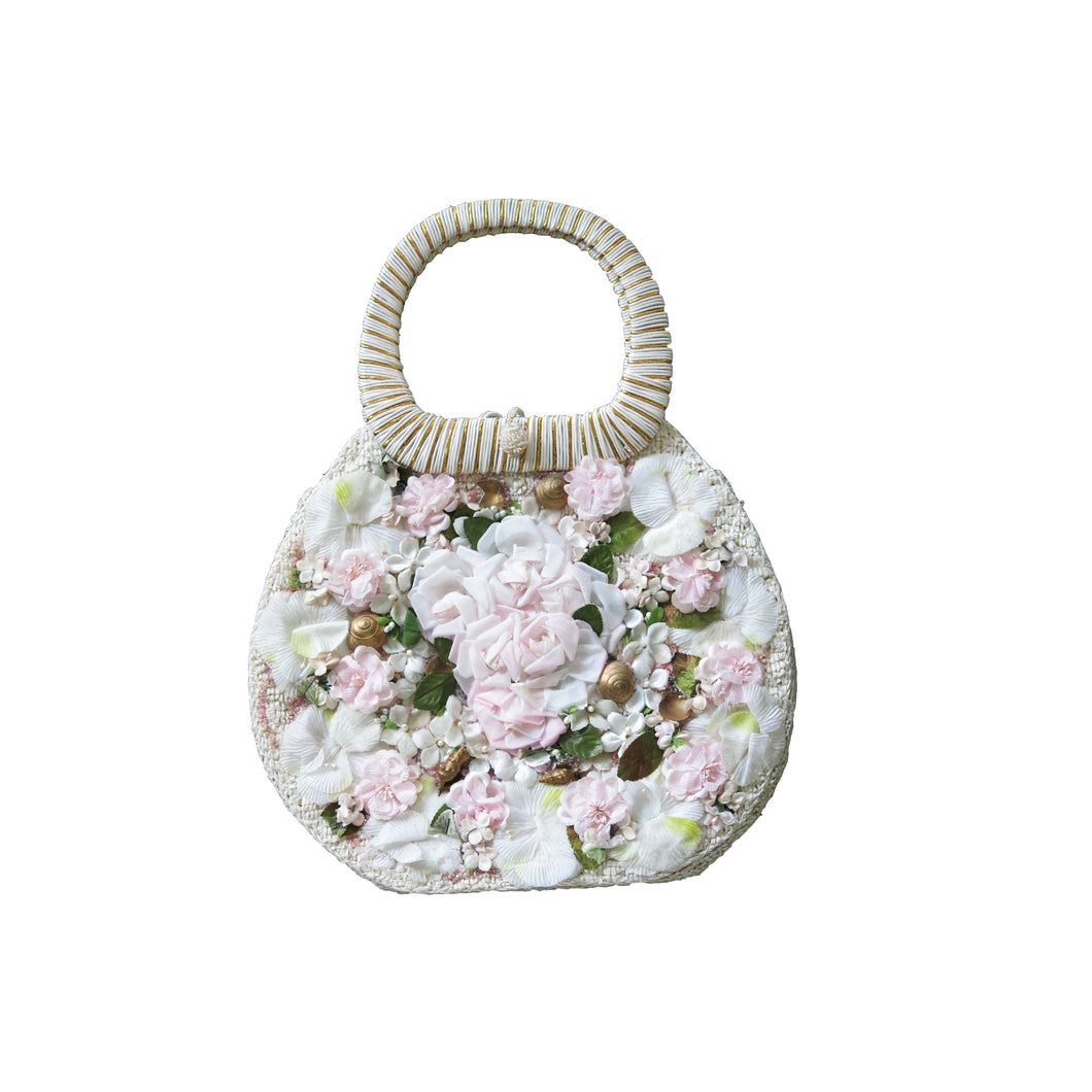 Vintage White Raffia Bag with Silk Flowers, Shells and Pearls - shopcurious