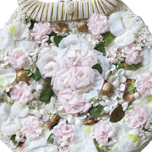 Load image into Gallery viewer, Vintage White Raffia Bag with Silk Flowers, Shells and Pearls - shopcurious