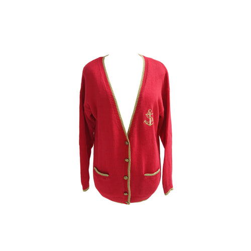 1990s Vintage Red Knitted Cardie with Gold Trim and Anchor Details - shopcurious
