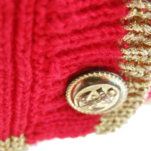 Load image into Gallery viewer, 1990s Vintage Red Knitted Cardie with Gold Trim and Anchor Details - shopcurious