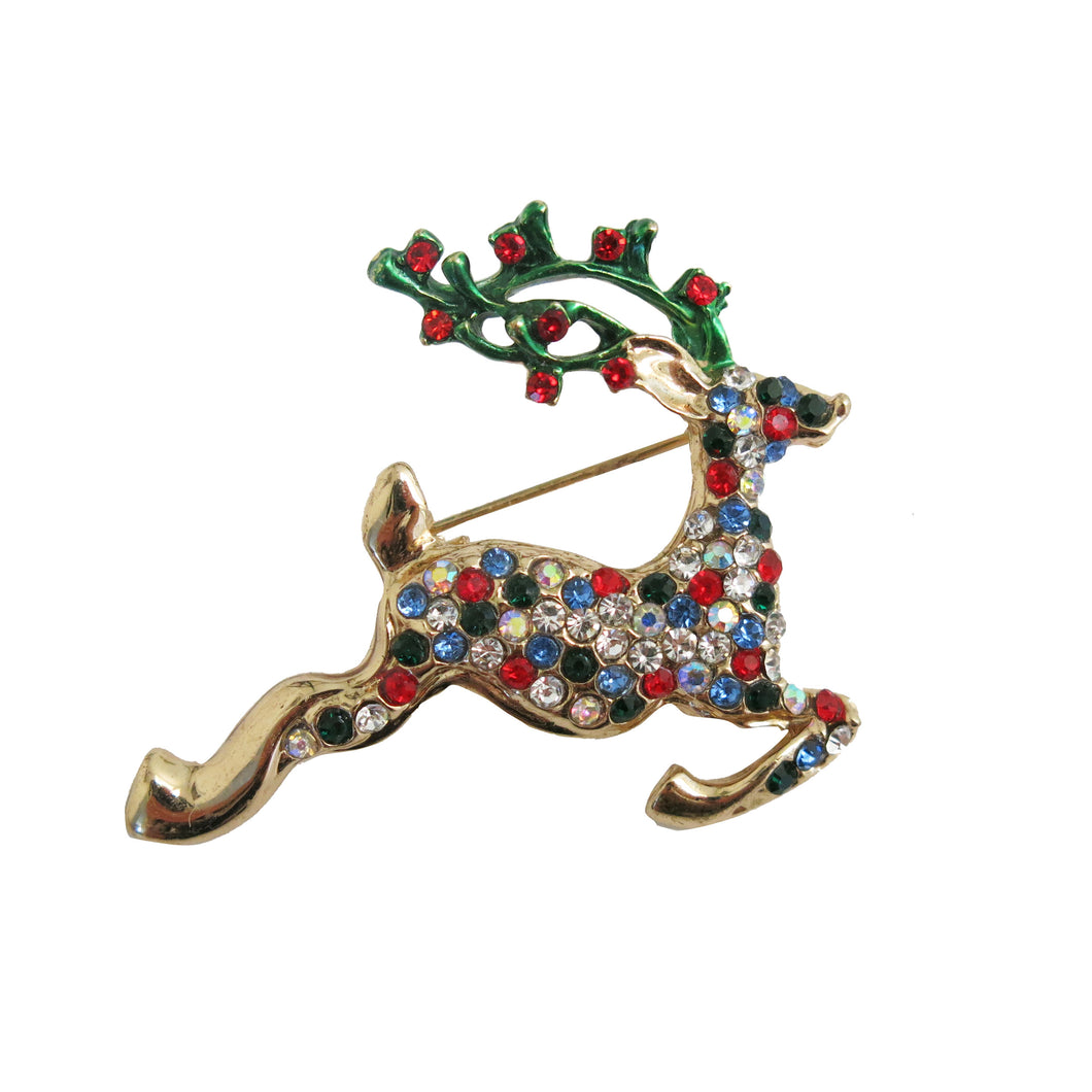 Multi-Stone Reindeer Brooch - shopcurious