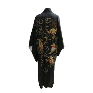 Reversible Gold Embroidered Black Silk Vintage Kimono - shopcurious