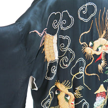 Load image into Gallery viewer, Reversible Gold Embroidered Black Silk Vintage Kimono - shopcurious