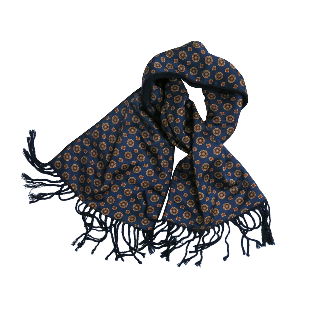 Men's Scarf  - Vintage, Patterned Blue Silk and Cashmere - shopcurious