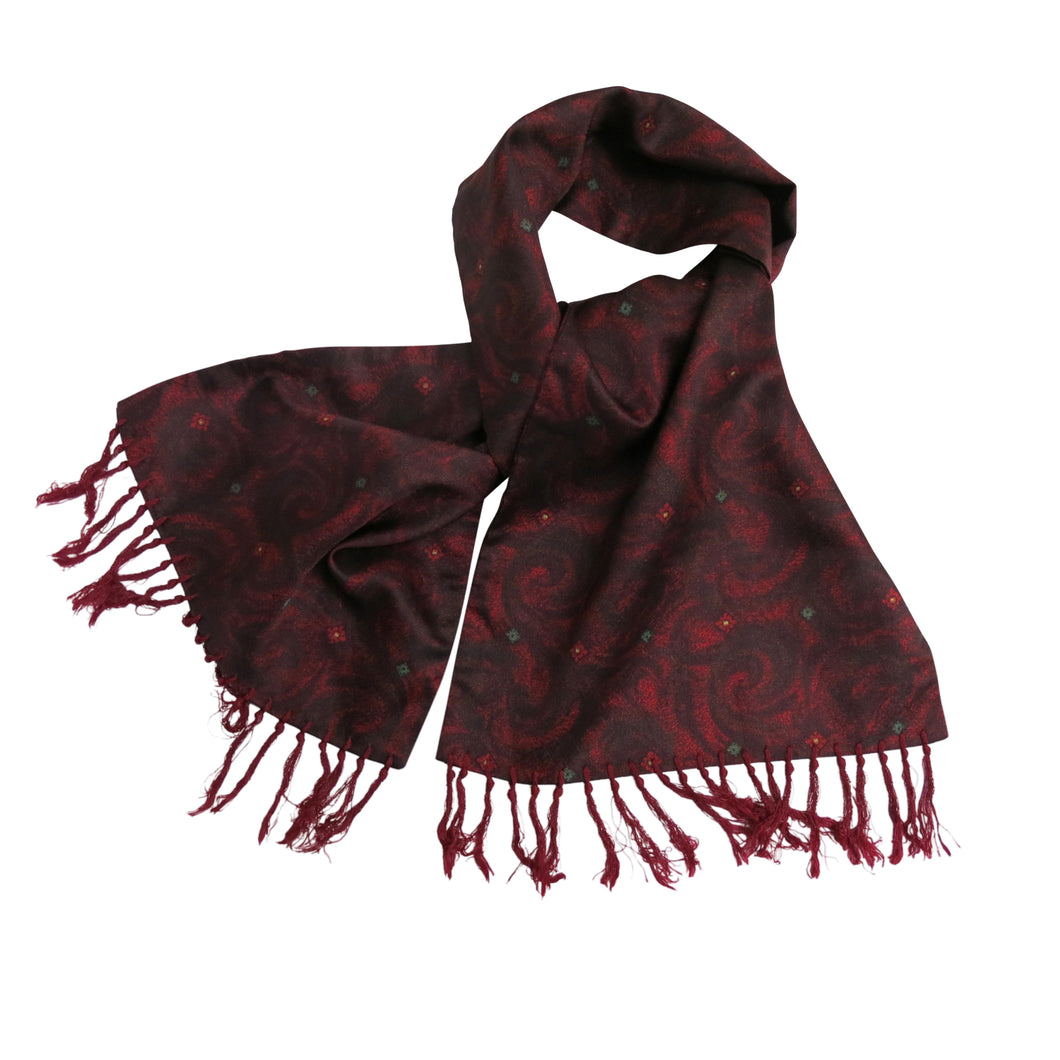 Men's Scarf – Vintage Tootal Grosvenor, Burgundy Swirls - shopcurious