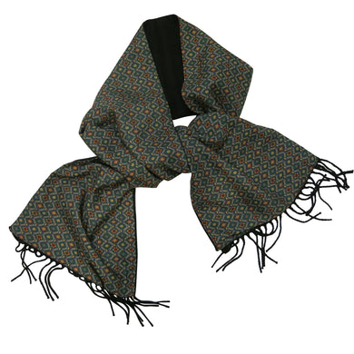 Men's Scarf – Vintage C&A, Patterned Green Synthetic Silk - shopcurious