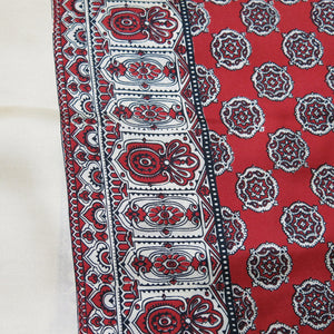 Men's Dress Scarf – Vintage Silk, Clotted Cream with Red Paisley Design - shopcurious